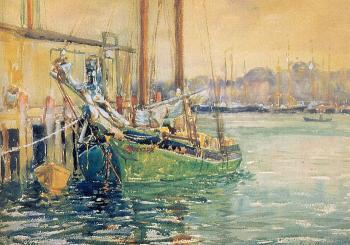 George Loftus Noyes : Gloucester Dock with Sailboat